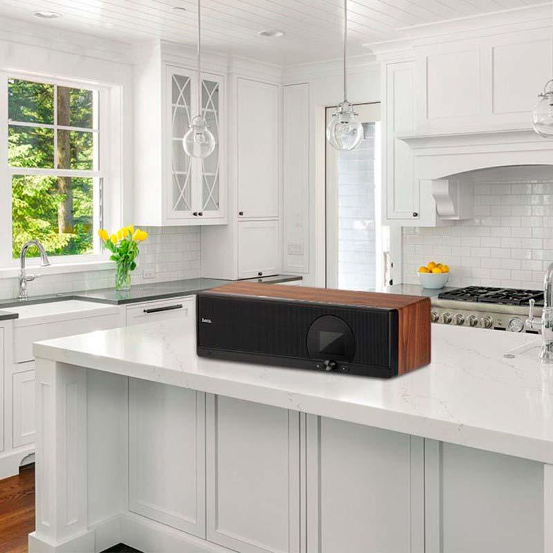 bs13 cobalt wooden tabletop wireless speaker kitchen