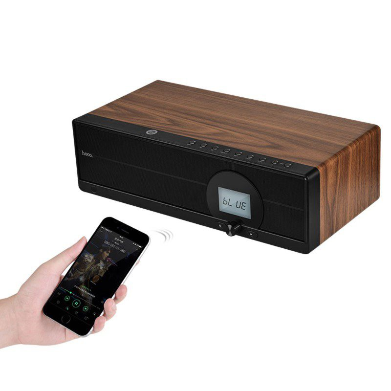 bs13 cobalt wooden tabletop wireless speaker remote