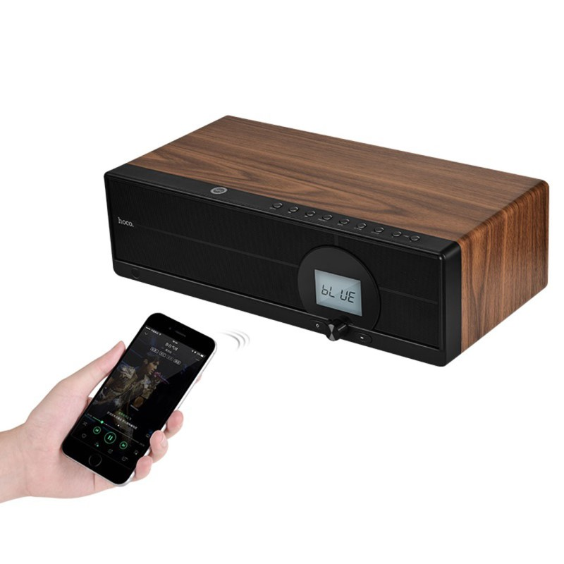 bs13 cobalt wooden tabletop wireless speaker remote