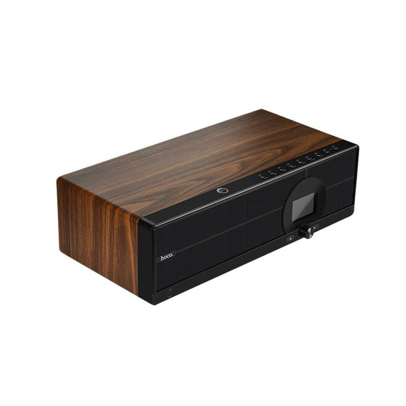 bs13 cobalt wooden tabletop wireless speaker side