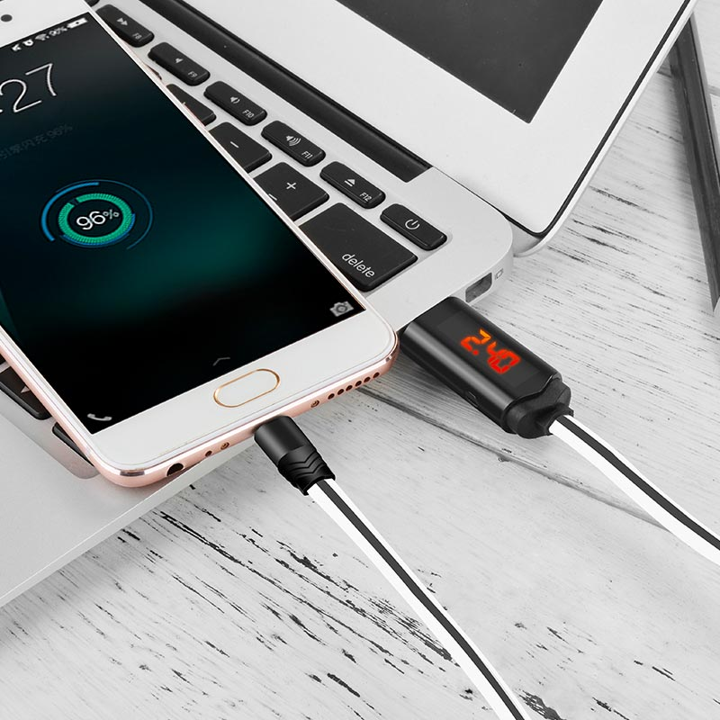 u29 micro usb charging data cable with led charging