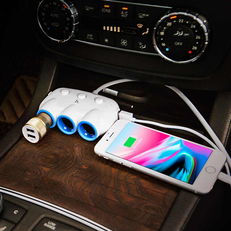 c1 3 in 1car charger white phone