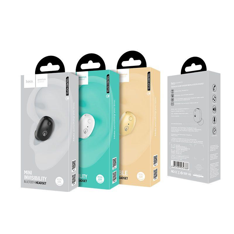 e24 ingenious sound sensory mini bluetooth headset packaging