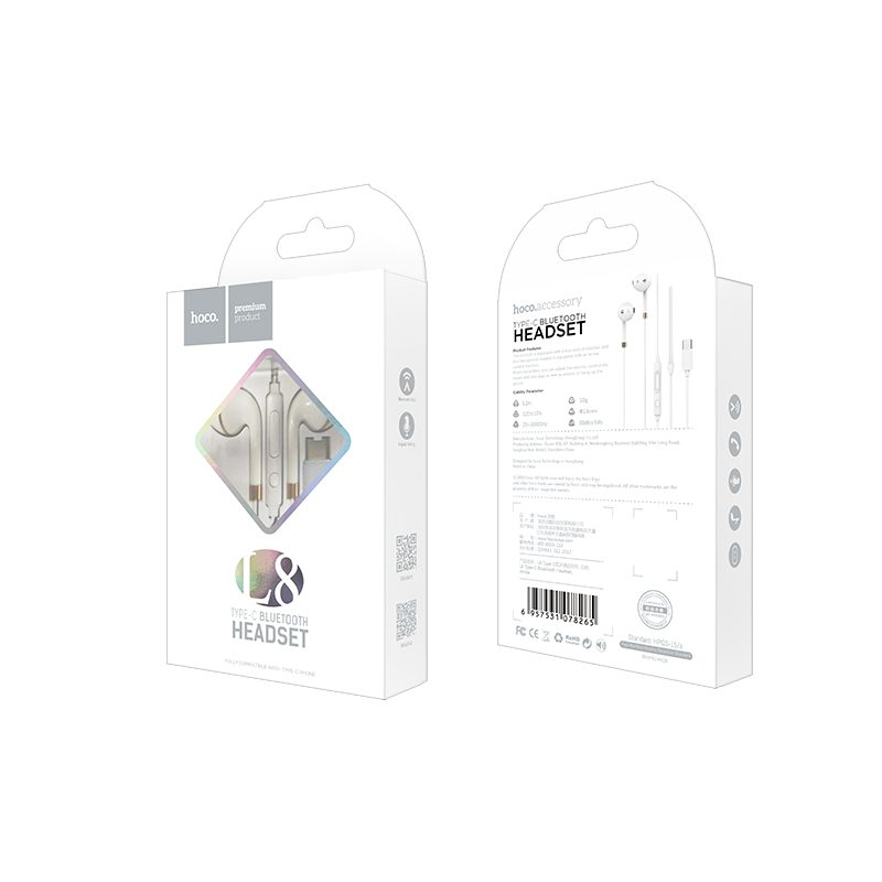 l8 type c bluetooth earphones packaging