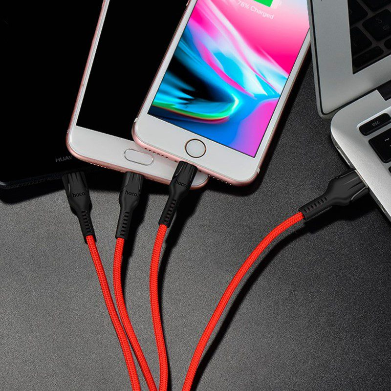 u31 charging cable three in one lightning micro usb type c connection
