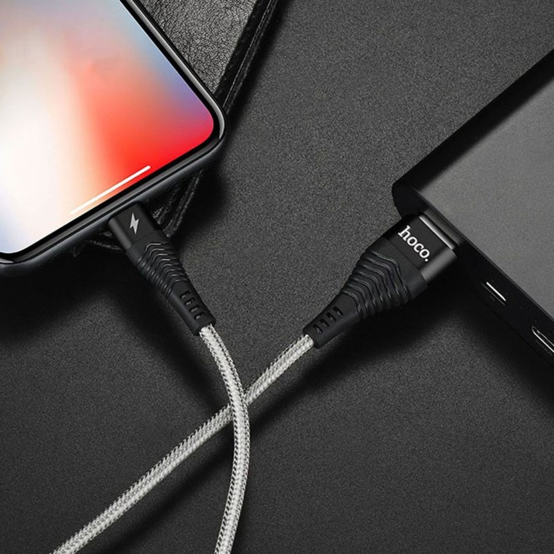 u32 unswerving steel braided lightning charging cable interior