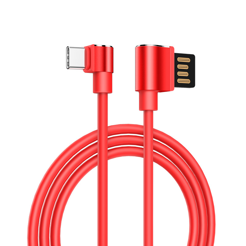 u37 long roam charging data cable type c rounded red