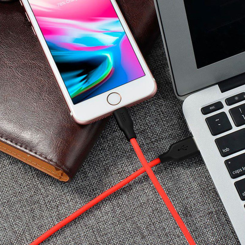 x21 silicone lightning charging cable interior