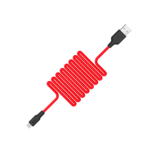 x21 silicone micro charging cable snake red