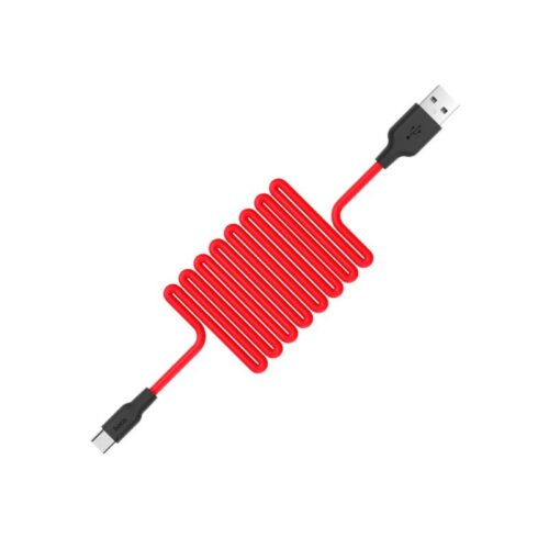 x21 silicone type c charging cable red spring