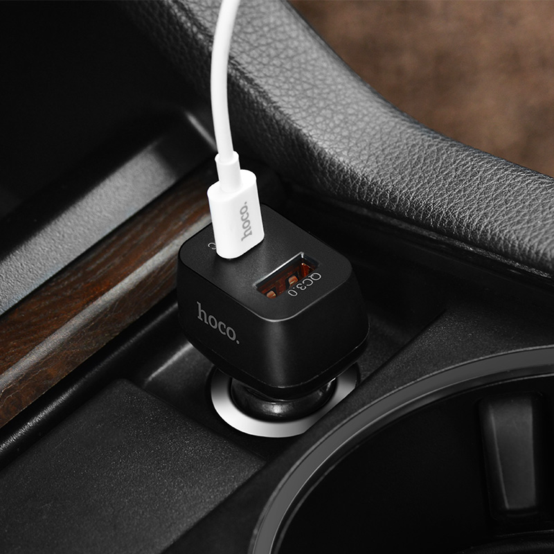 z15 kuso qc3.0 type c usb car charger interior