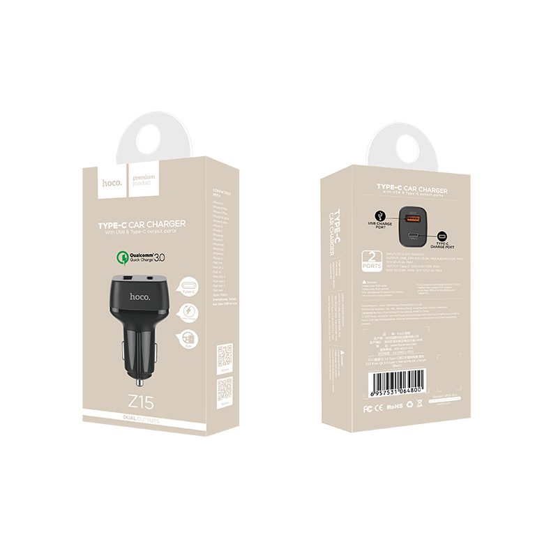 z15 kuso qc3.0 type c usb car charger package