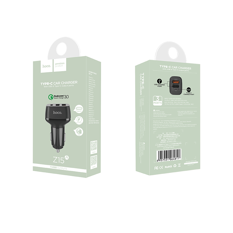 z15a kuso qc3.0 type c two usb car charger package