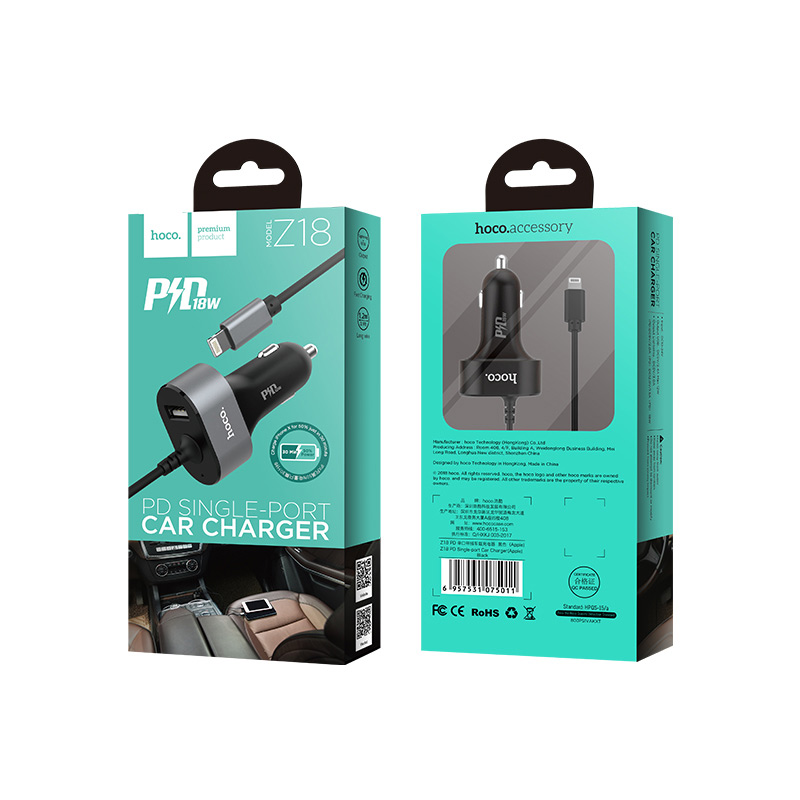 z18 pd car charger built in cable package