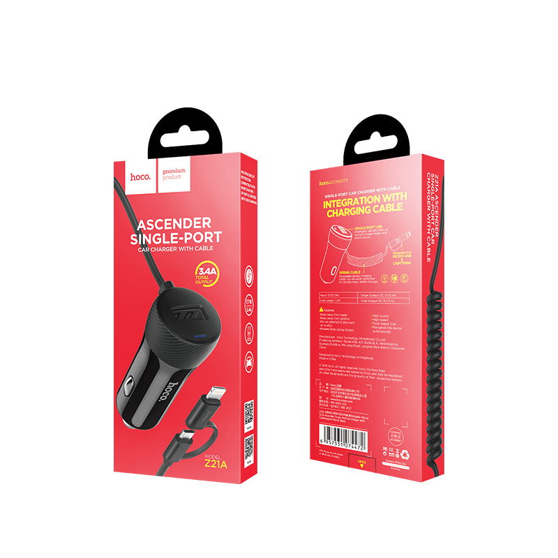 z21a ascender car charger with cable packaging