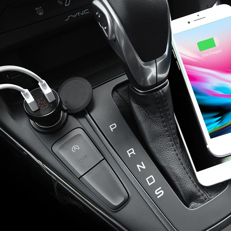 z22 double usb port car charger with digital display dash