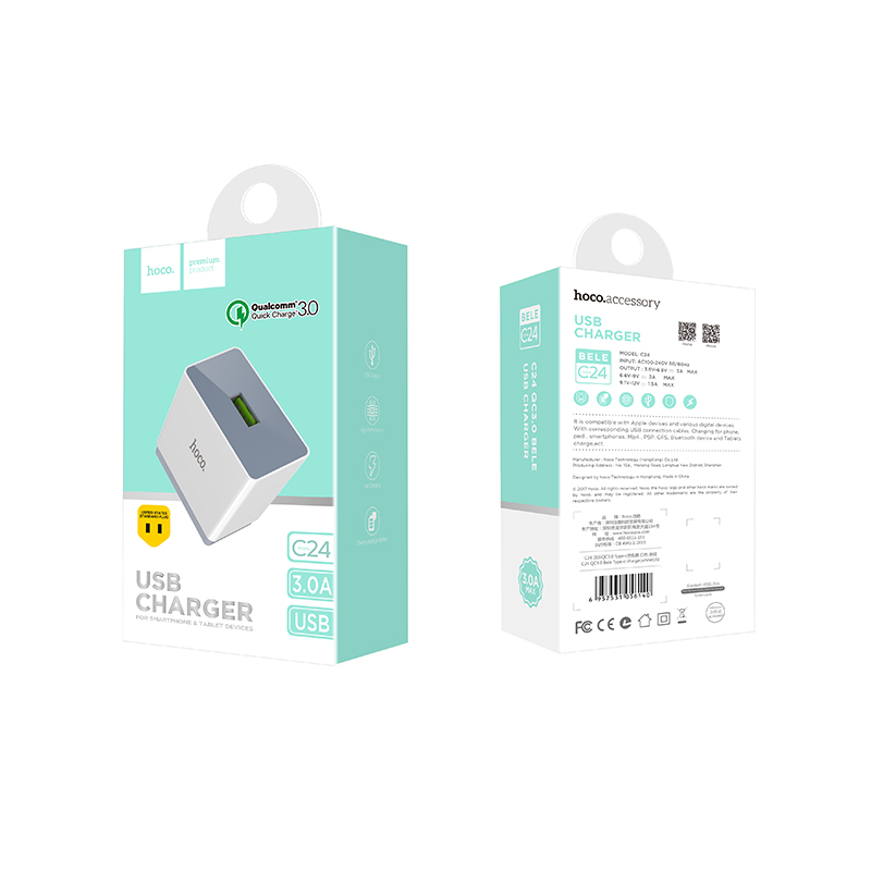 c24 qc3.0 bele usb charger package
