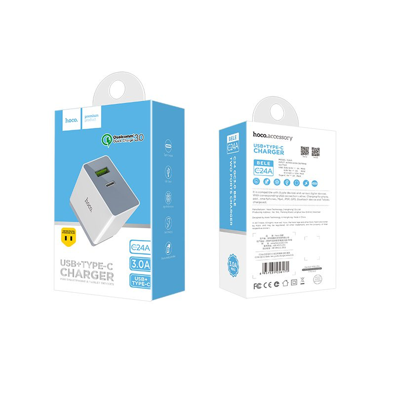 c24a qc3.0 bele two ports charger package