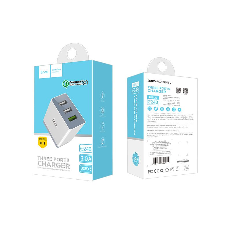 c24b qc3.0 bele three ports charger package