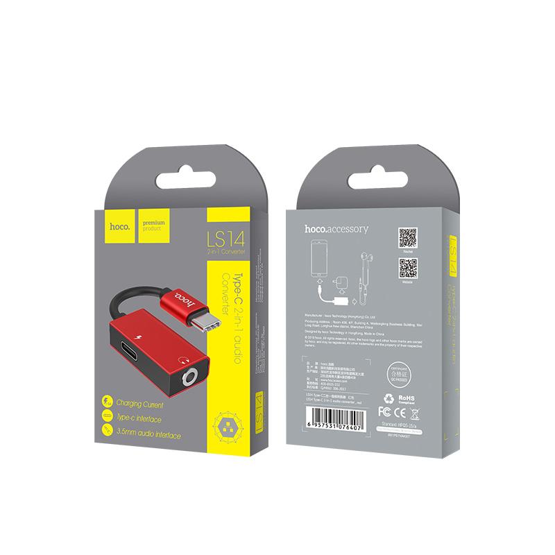 ls14 type c 2 in 1 audio converter packaging
