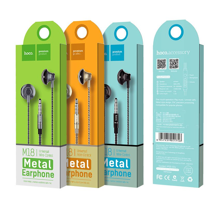 m18 goss metal universal earphone packages