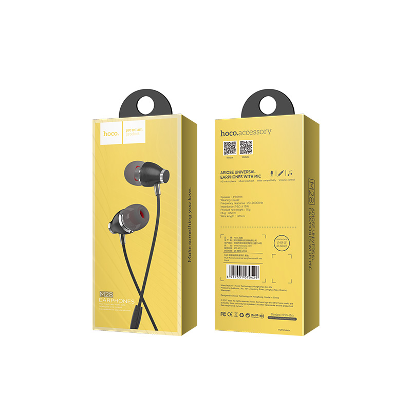 m28 ariose universal earphones with mic package