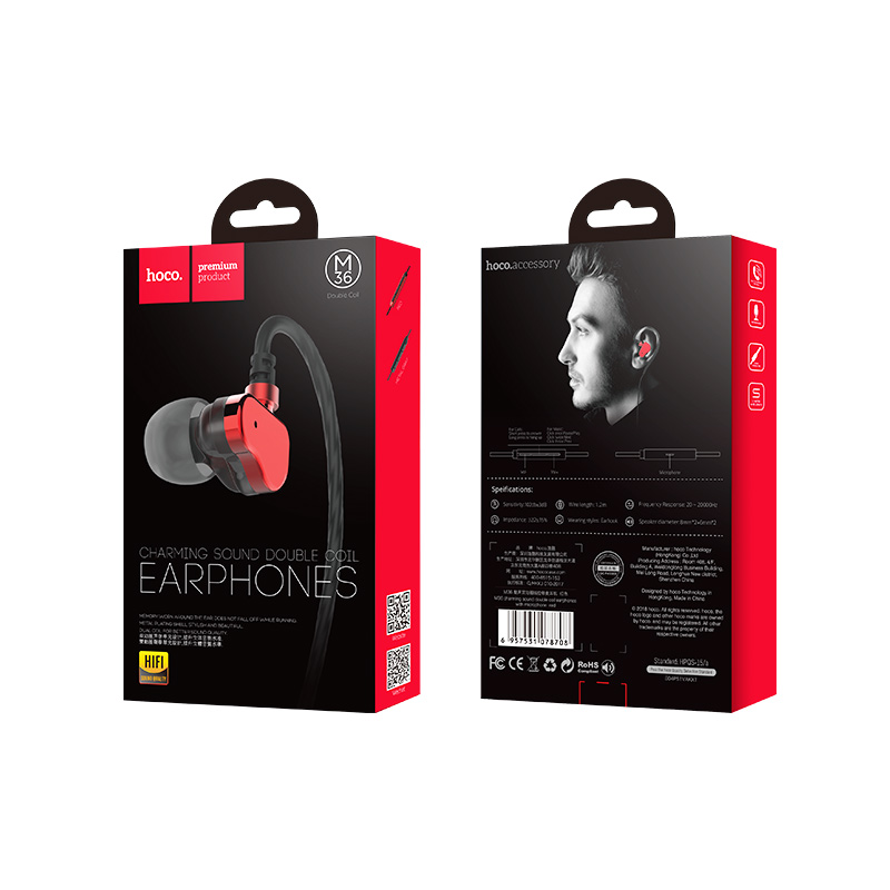 m36 double coil earphones with microphone package