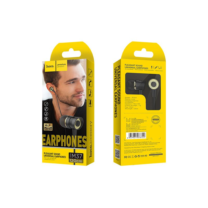 m37 universal earphones with microphone package