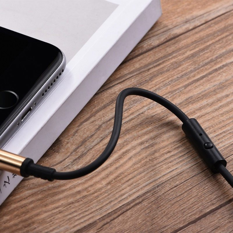 upa02 aux spring audio cable with mic button