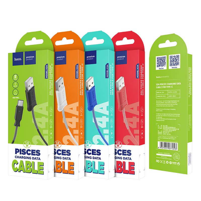 x24 pisces type c charging data cable packaging