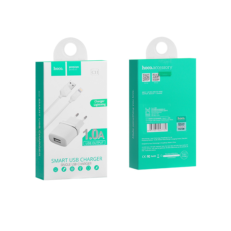 c11 smart single usb charger set lightning package