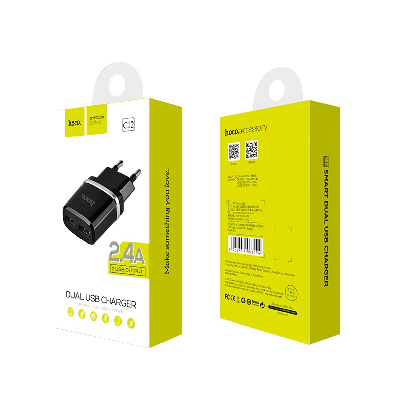 c12 smart dual usb charger black package
