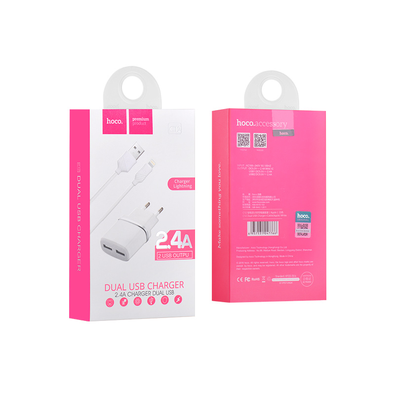 c12 smart dual usb charger white set lightning package