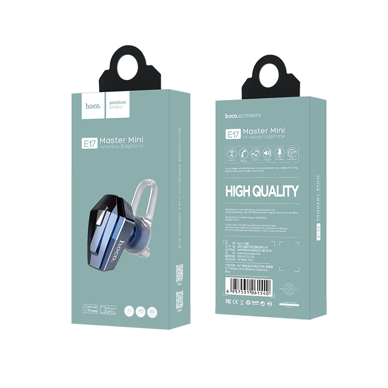 e17 master mini wireless earphone package blue