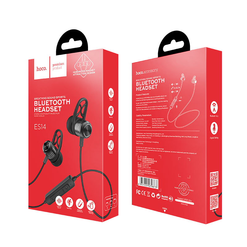 es14 breathing sound sports bluetooth headset package front back