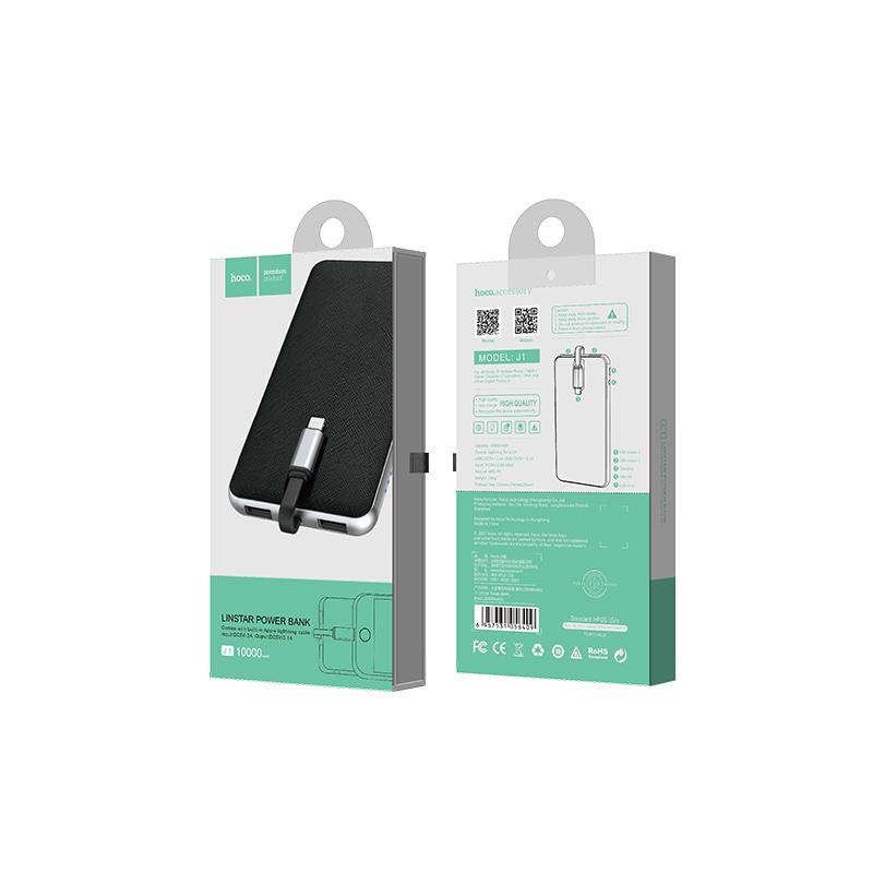 j1 linstar power bank 10000 mah black package