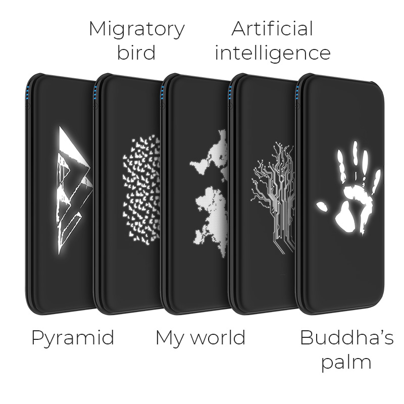 j10 glowing pattern power bank 10000 mah variations