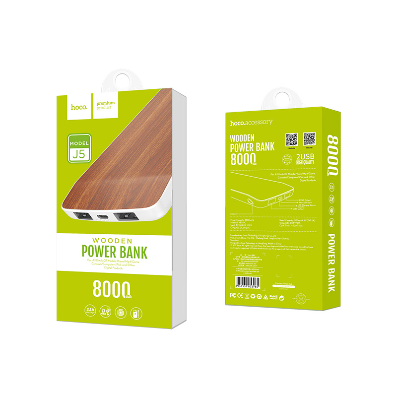 j5 wooden power bank 8000 mah red oak package