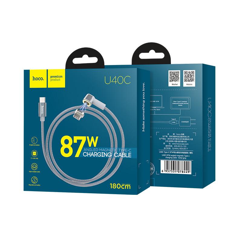 u40c 87w type c угловой магнитный зарядный кабель упаковка