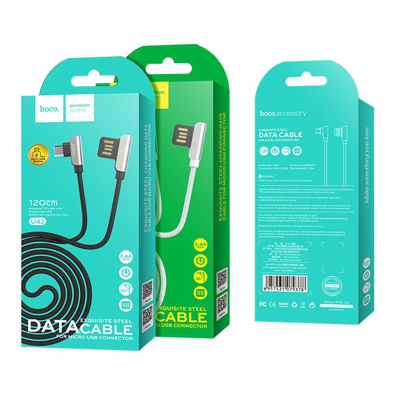 u42 micro usb exquisite steel charging data cable packages