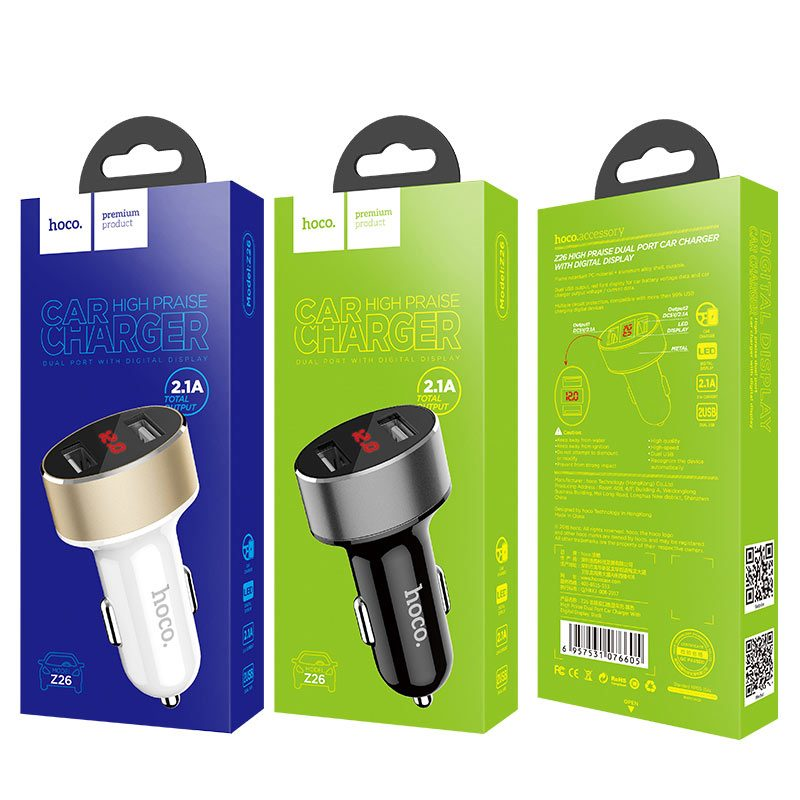 z26 high praise dual port car charger with digital display packages
