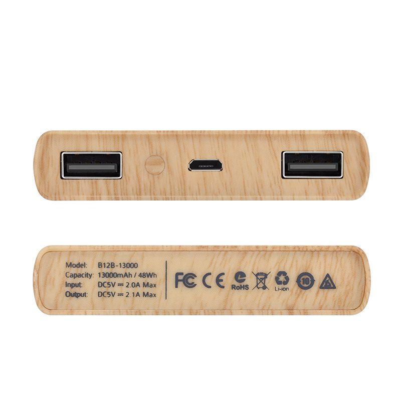 b12b 13000 wood grain power bank ports spec