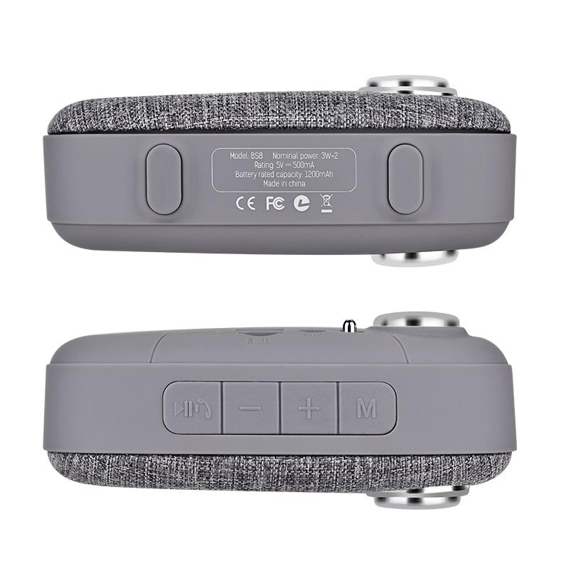 bs8 plain textile desktop wireless speaker buttons