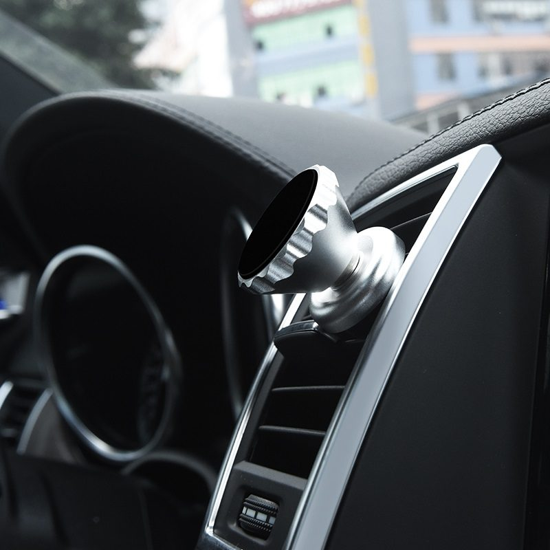 ca19 metal magnetic car air outlet mobile phone holder interior silver