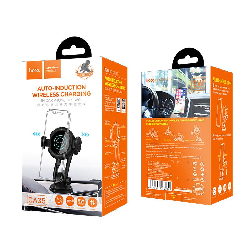 ca35 auto induction wireless charging in car phone holder package