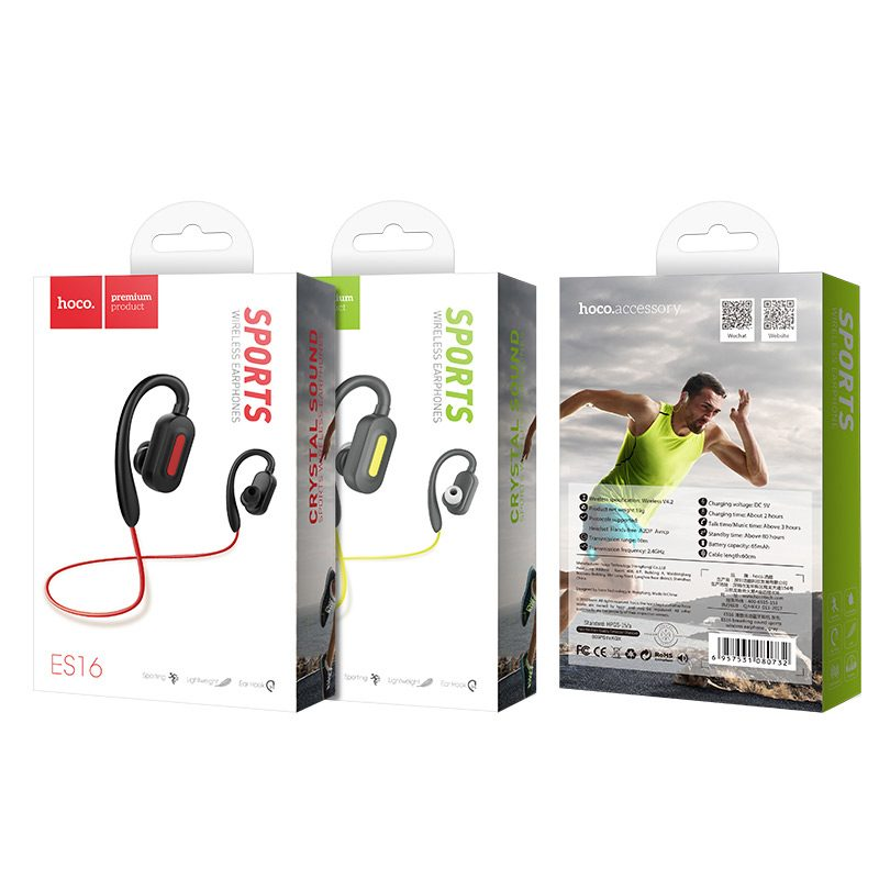 es16 crystal sound sports bluetooth headset package