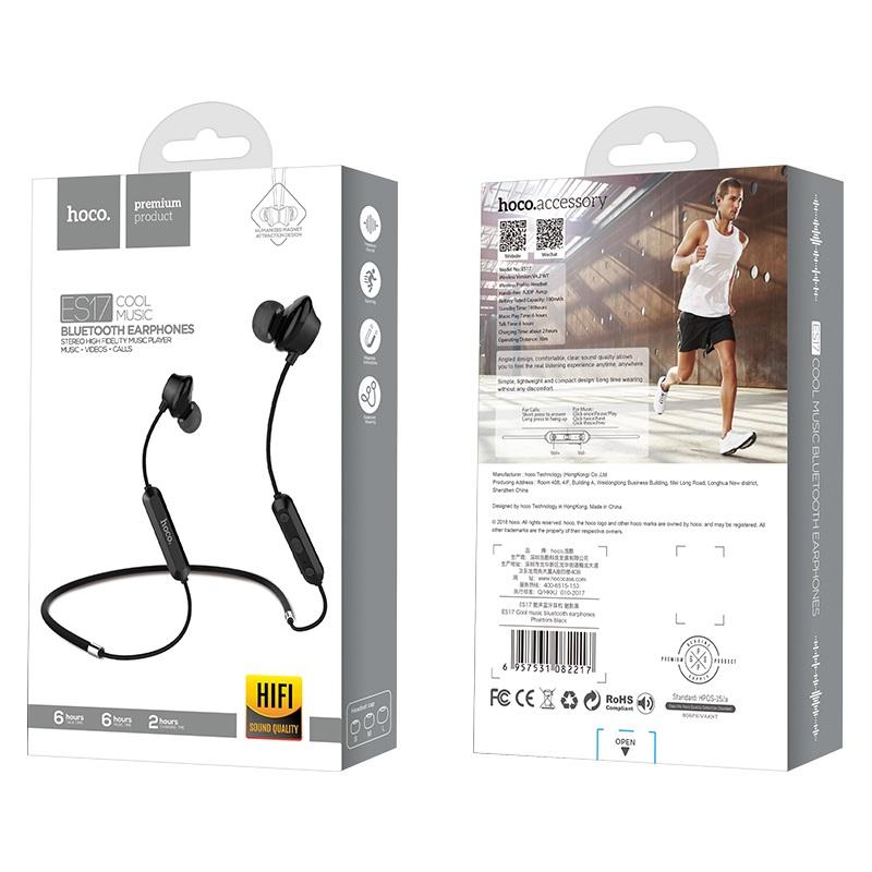 es17 cool music bluetooth earphones package front back