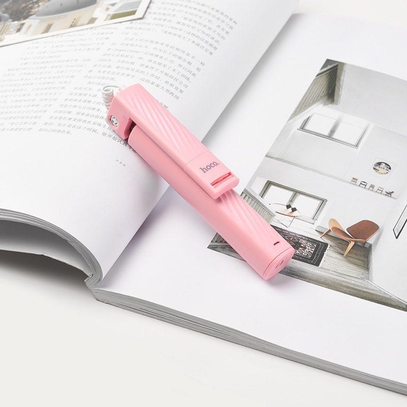 k7 dainty mini wired selfie stick interior pink