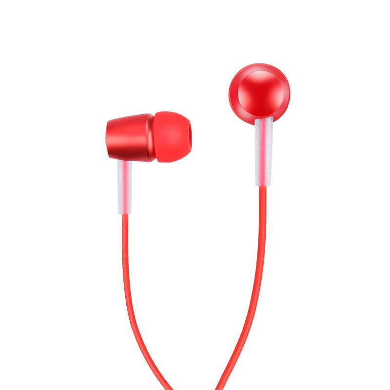 m10 metal universal earphone with mic red front side