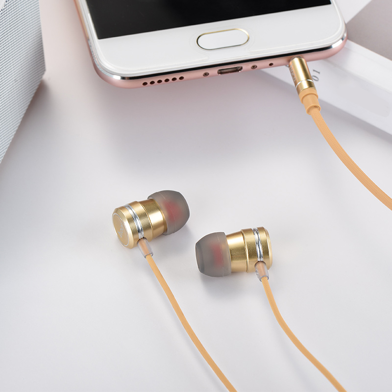 m16 ling sound metal universal earphones with mic gold interior